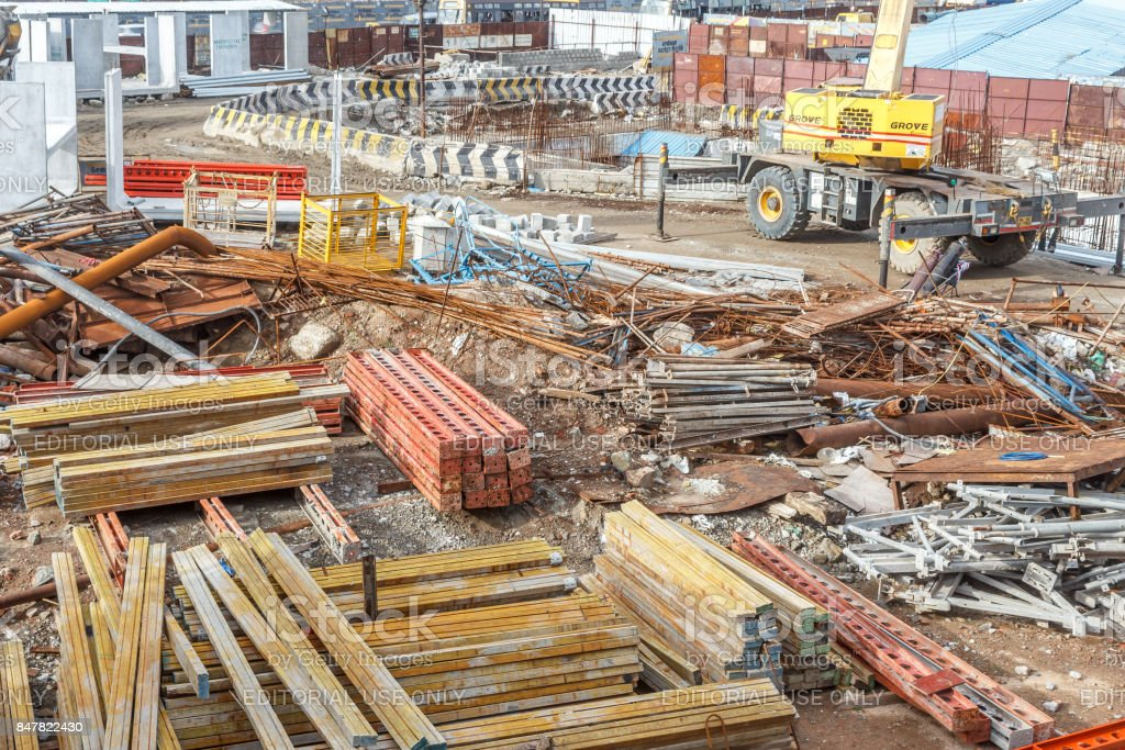 Wide View Of Metro Train Work Area Under Construction Seen