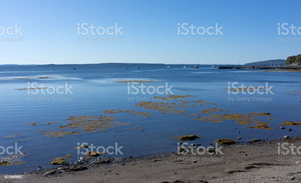 Wide view of Searsport, Maine town pier stock photo