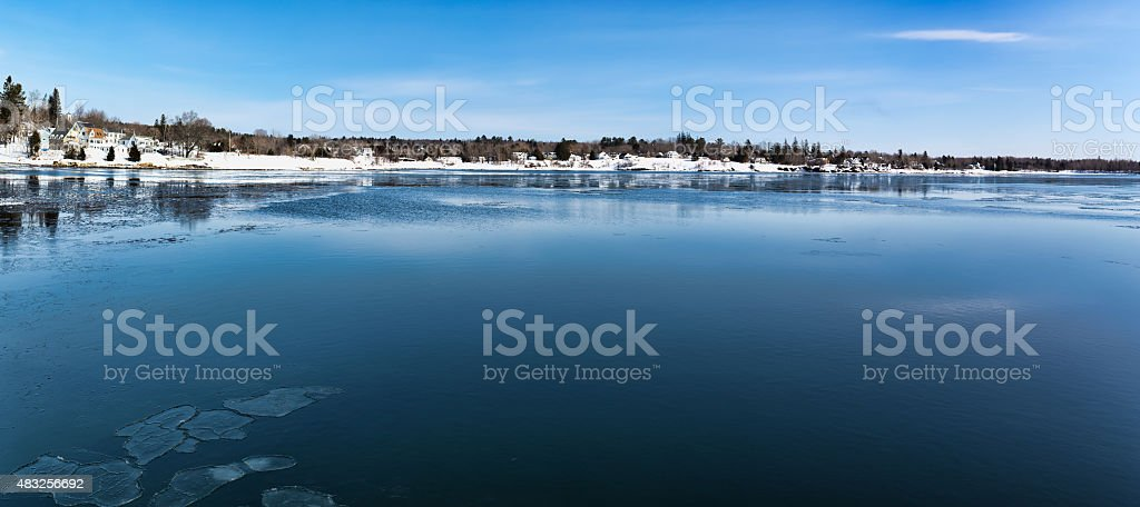 Wide view of Searsport Maine waterfront stock photo