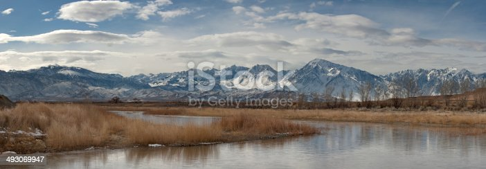 Wide view of Sierra East Side, with Owens River in foreground