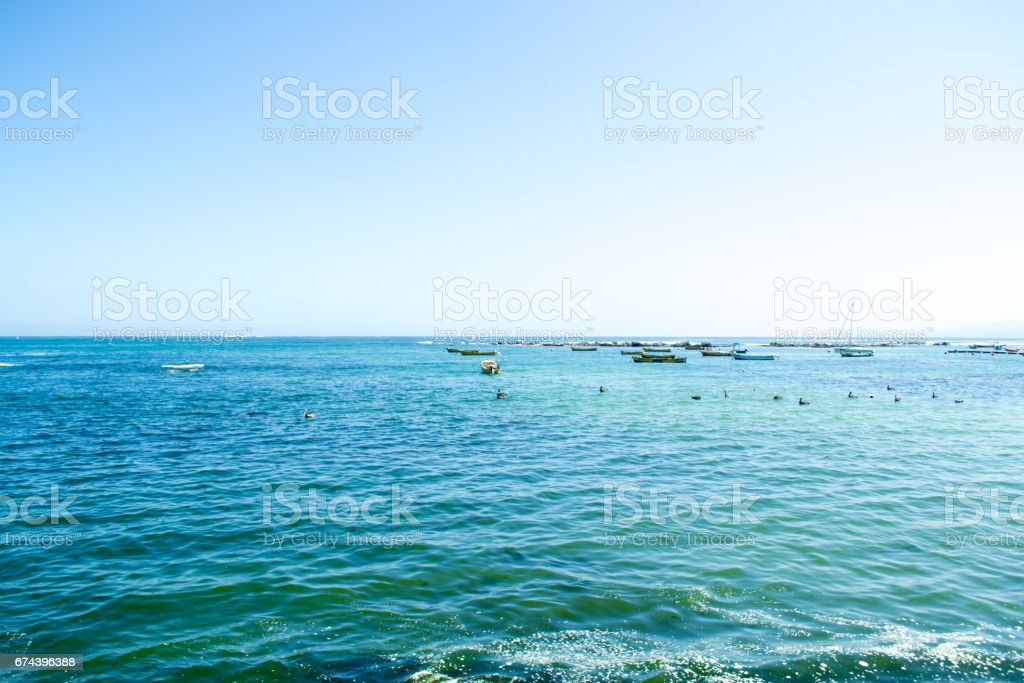 Wide view of th sea in Algarrobo Chile stock photo