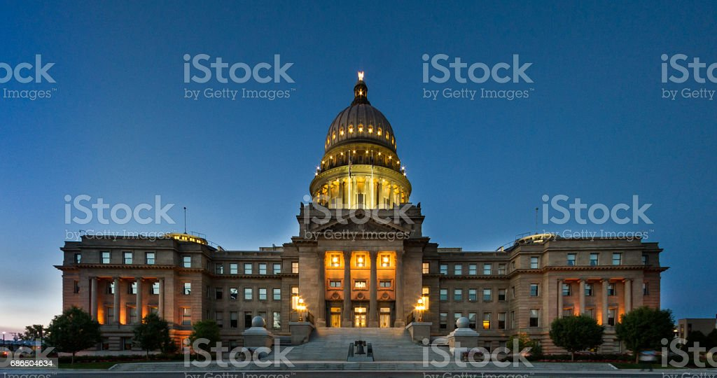 Wide view of the boise capital building stock photo