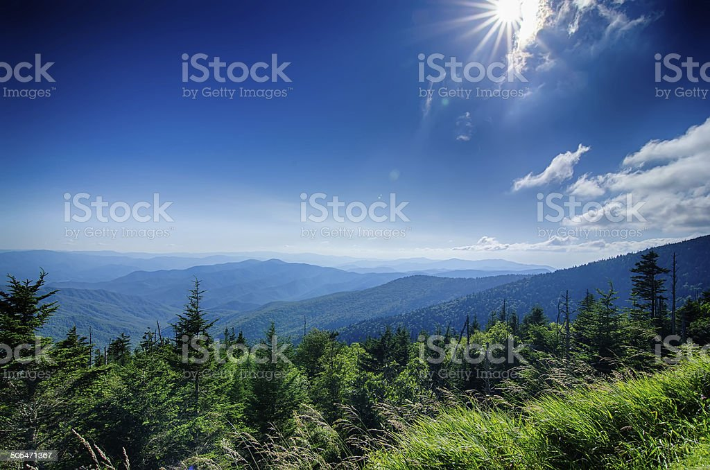 wide view of the Great Smoky Mountains stock photo