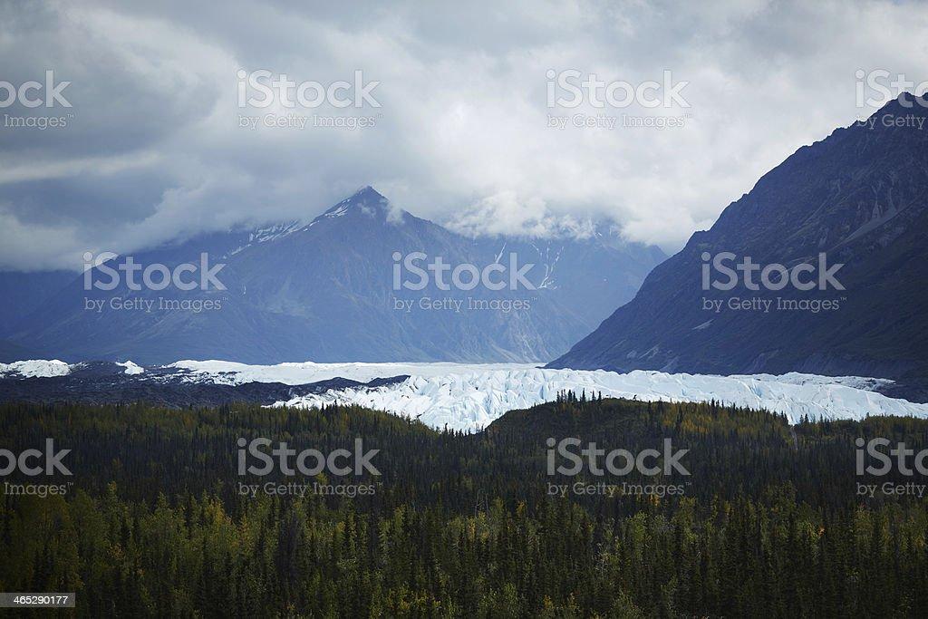Wide view of the Matanuska Glacier, Alaska USA stock photo