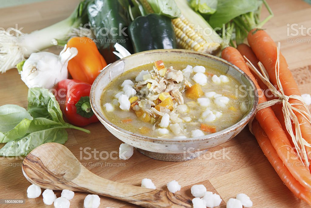 Wide view of traditional posole stew stock photo