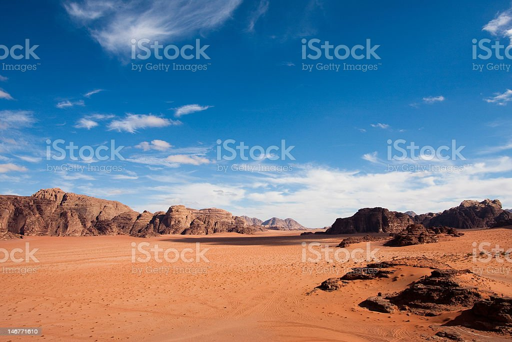 Wide view of Wadi Rum desert, Jordan. Copy space. royalty-free stock photo