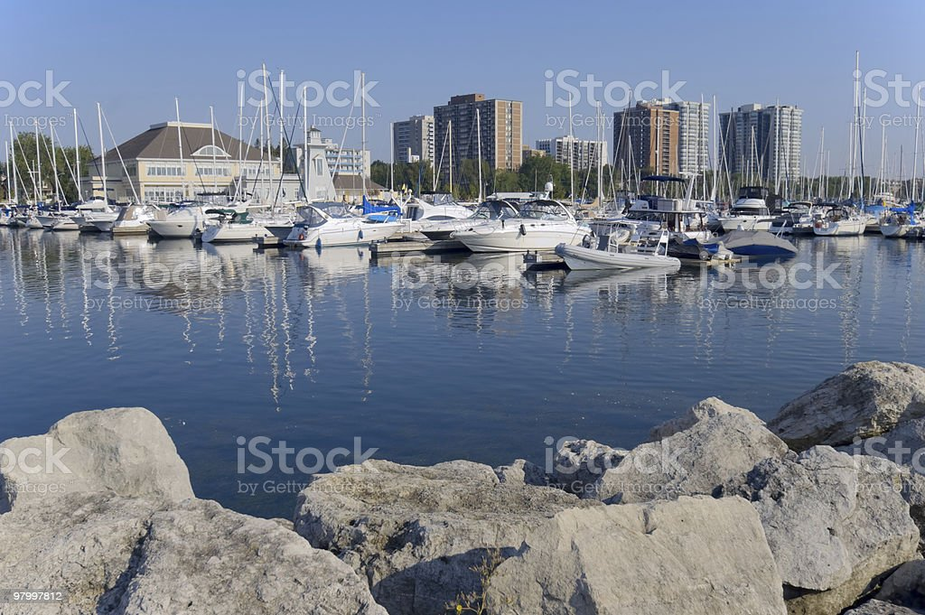 Wide view on lake marina in the morning royalty-free stock photo