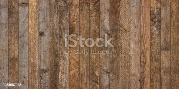 Wide vintage old wooden planks texture background flat lay