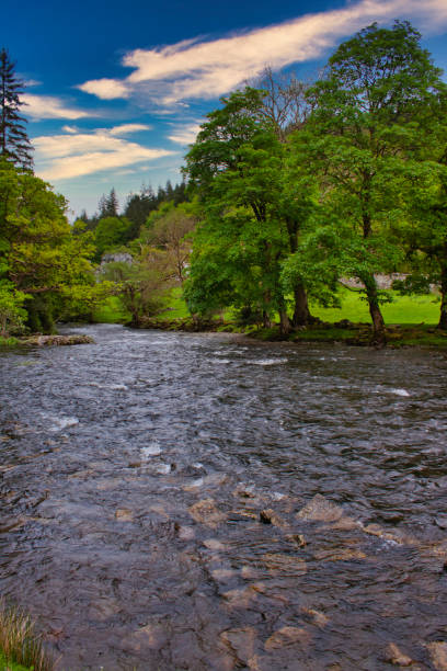 Wide Welsh River Tree and Sky stock photo
