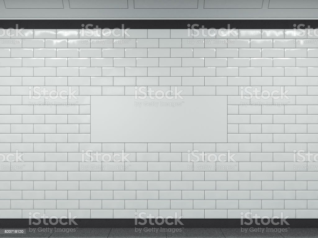 Wide white banner in subway. 3d rendering stock photo