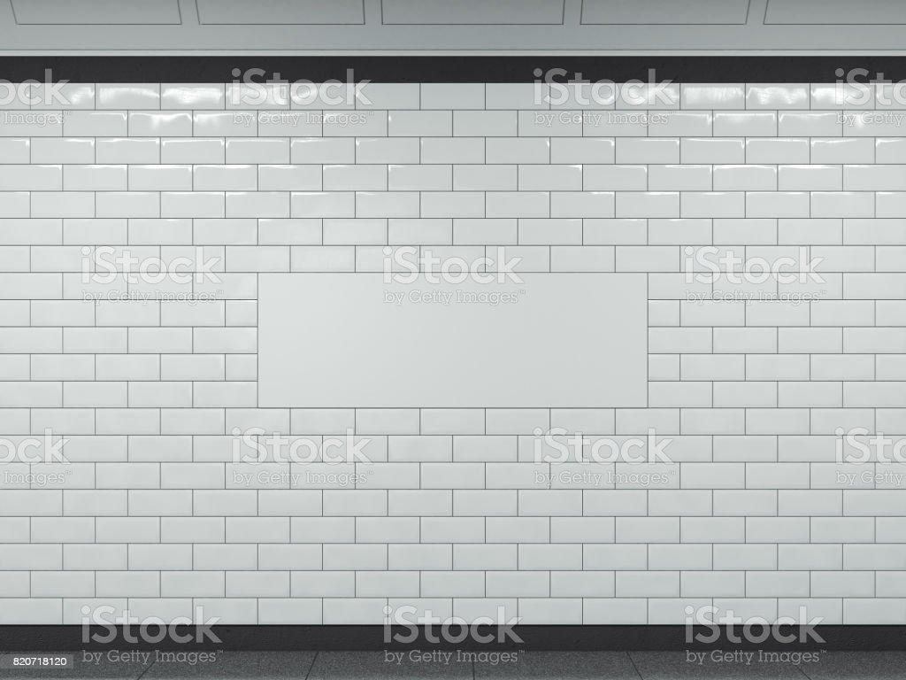 Banner branco no metrô. renderização 3D - foto de acervo