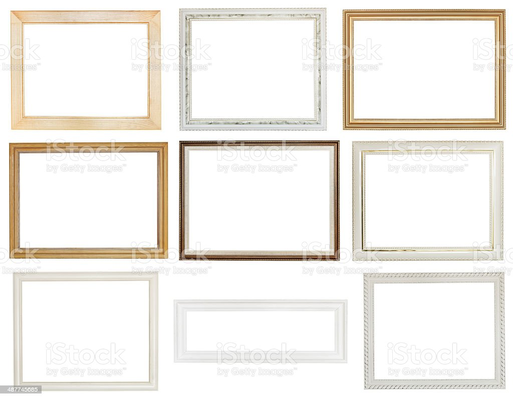 wide white panoramic wooden picture frame stock photo