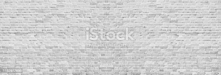 Wide white washed brick wall texture. Rough light gray vintage brickwork. Whitewashed panoramic background