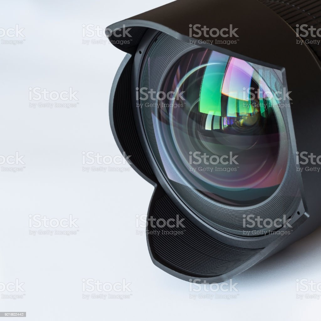 Wide-angle lens  with a hood stock photo