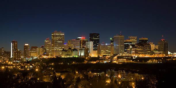 Wide-angle shot of Edmonton night skyline stock photo