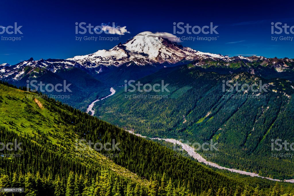 Wide-Angle Shot of Mount Rainier from Crystal Mountain. - Royalty-free Agricultural Field Stock Photo