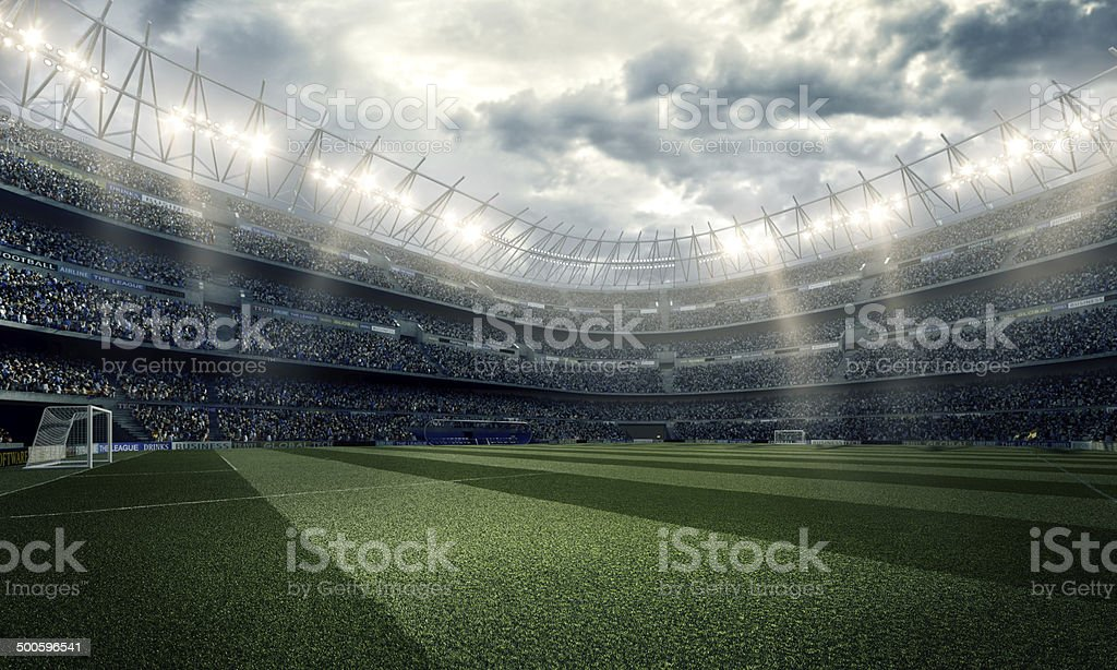 Wide-angle view inside of soccer stadium stock photo
