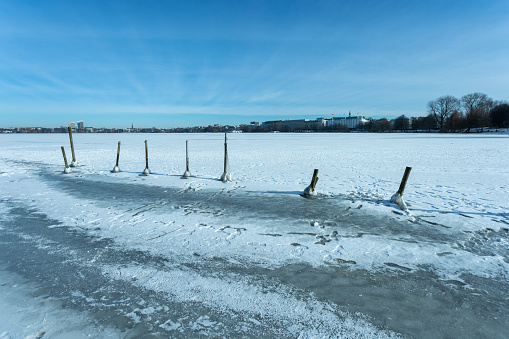 Wide-angle view of the frozen Outer Alster in Hamburg Germany