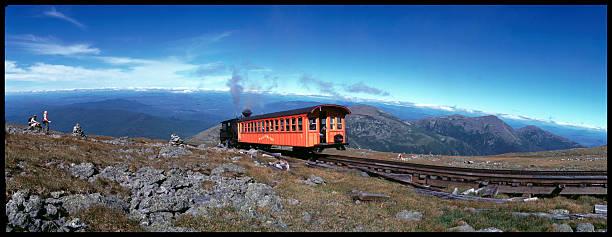 Widelux: Mt. Washington cog railway Cog Railway on Mount Washington, New Hampshire (white mountain national forest). 35mm widelux, shot on Velvia. mount washington new hampshire stock pictures, royalty-free photos & images
