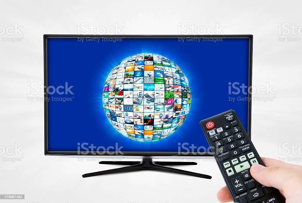 Widescreen high definition TV screen with sphere video gallery. stock photo