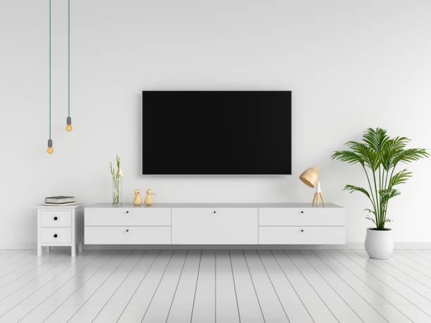 breitbild-tv und sideboard im wohnzimmer, 3d rendering - anrichte weiß stock-fotos und bilder