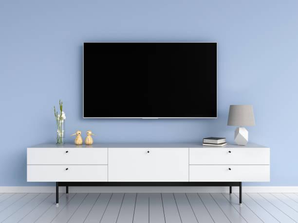 breitbild-tv im wohnzimmer, 3d rendering - anrichte weiß stock-fotos und bilder