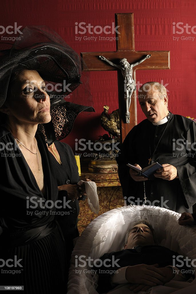 Widow of Dramatic Funeral stock photo