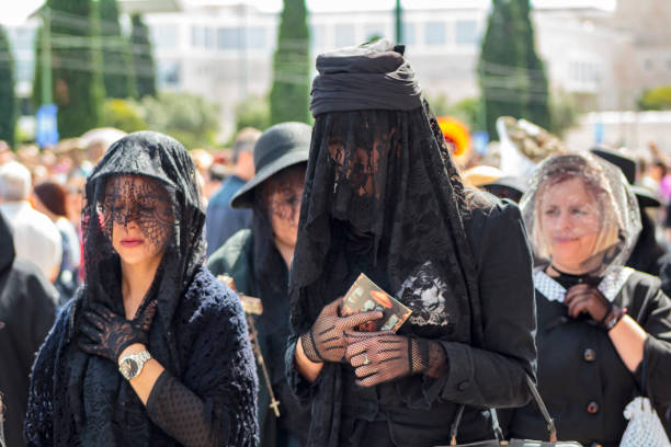 widows at at iberian mask international festival in lisbon - demoniac stock pictures, royalty-free photos & images