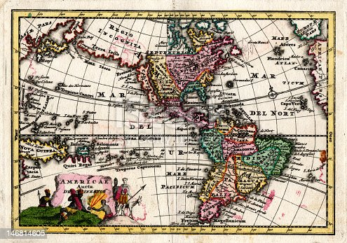 Antique 1730 Wiegel Map of the Americas showing California as an Island