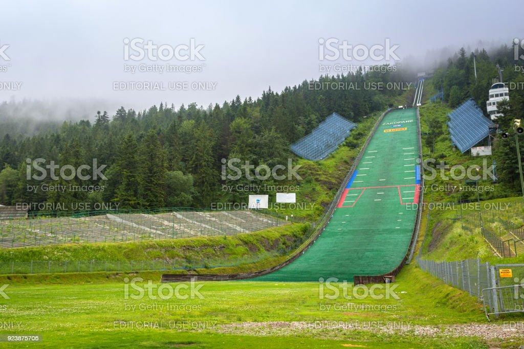 Wielka Krokiew ski jumping arena in Zakopane. stock photo