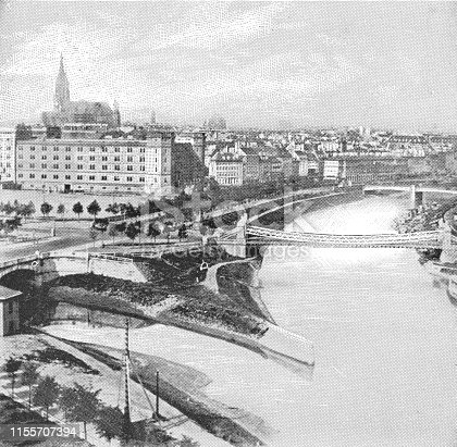 Wien River flowing into the Donaukanal (Danube Canal) in Vienna, Austria. The Austro-Hungarian Empire era (circa 19th century). Vintage halftone photo etching circa late 19th century.