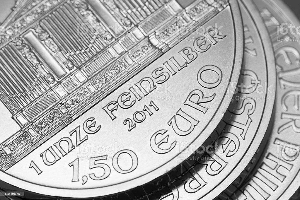 Wiener Philharmoniker, 1 oz silver coin stock photo