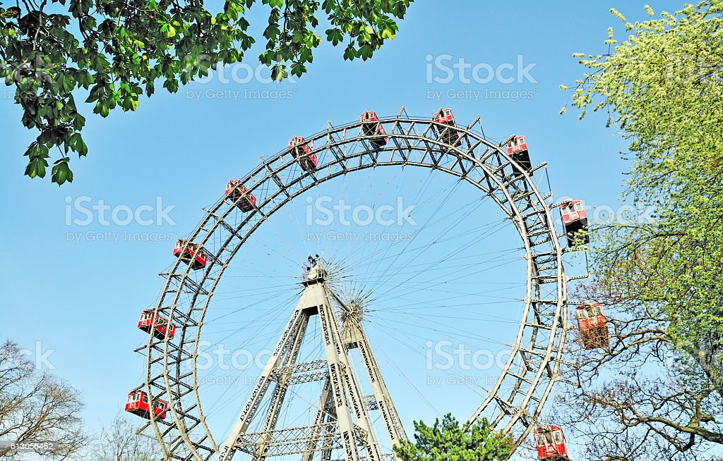 Wiener Riesenrad, Giant Ferris Wheel in Prater Park, Vienna, Austria stock photo