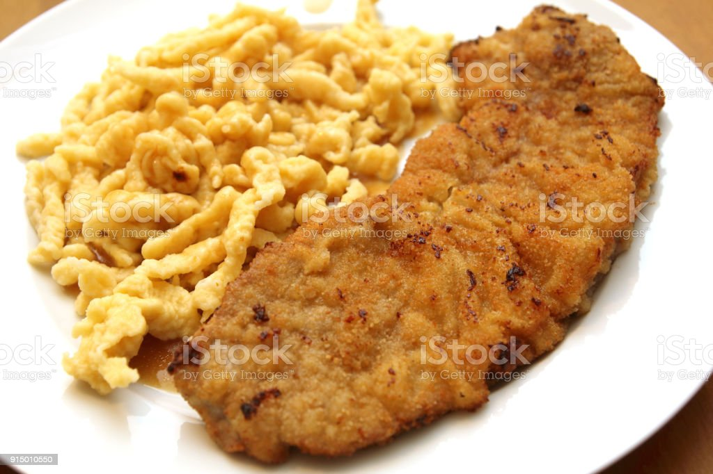 Wiener Schnitzel pan stock photo