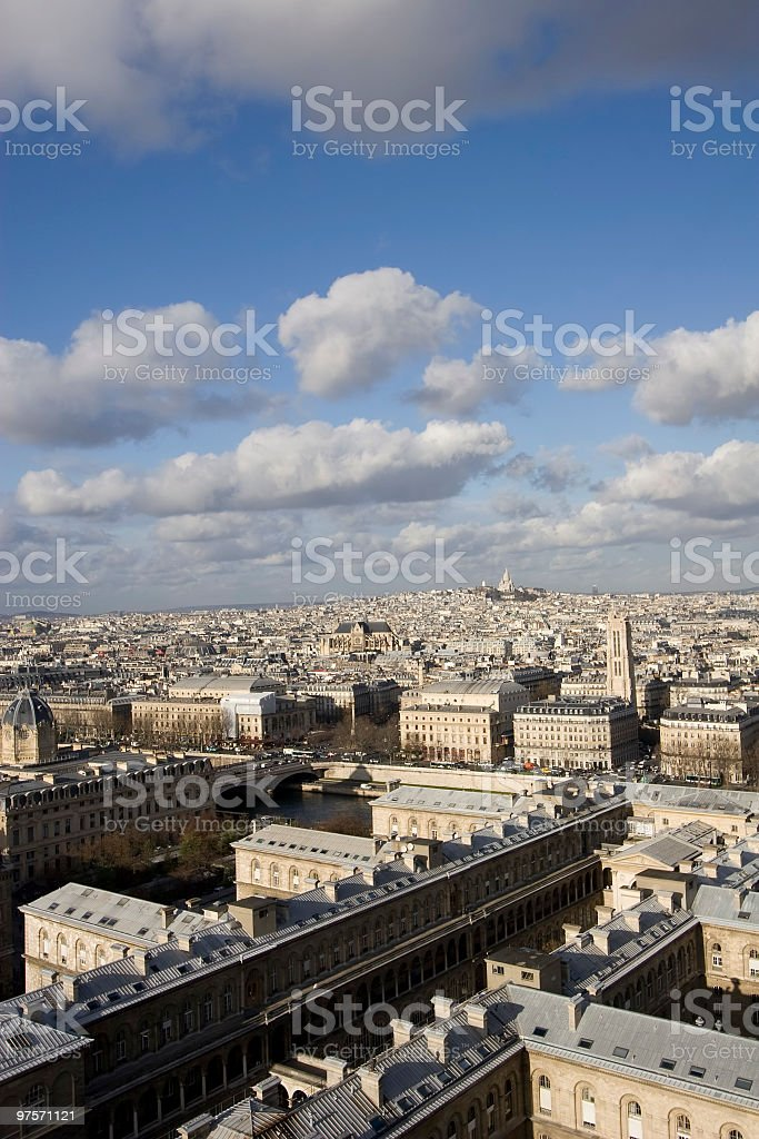 Wiew from Notre Dame,  a distance  see Montmartre royalty-free stock photo