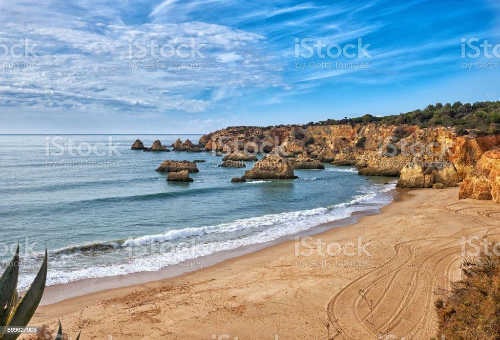 Wiew of Algarve beach - fotografia de stock