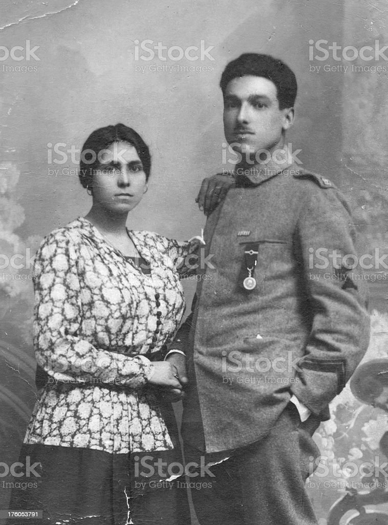 Wife and husband in 1917 stock photo