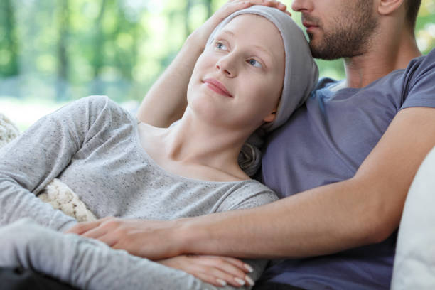 Wife and husband spending time Young sick wife and husband resting and spending time together chemotherapy cancer stock pictures, royalty-free photos & images
