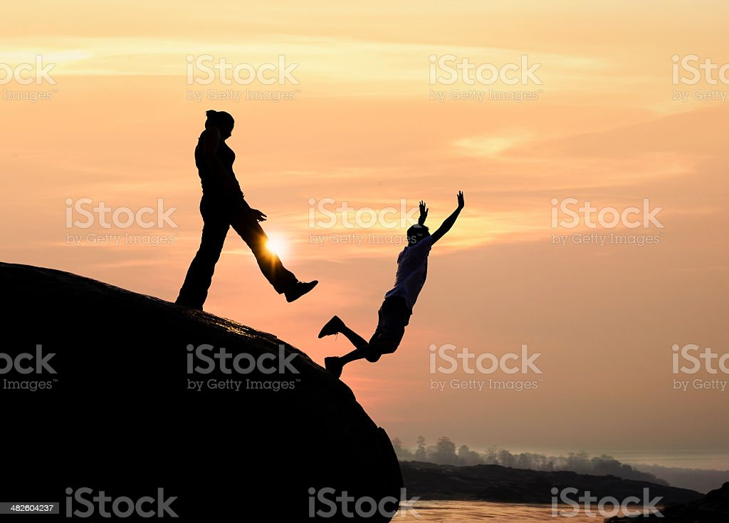 Wife betrayed her husband by the kick stock photo