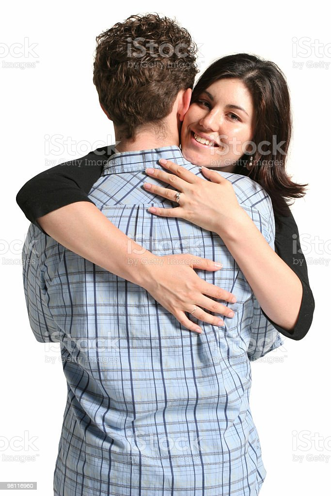 Wife hugs husband royalty-free stock photo
