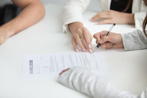 istock Wife signing divorce decree after break up decision 955158756