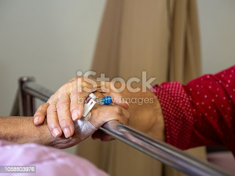 909569706istockphoto Wife visiting husband in hospital. Senior couple holding hands on hospital bed for hospitalization for supporting his dear. Concept of love and to be with lover. 1058803976
