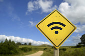 istock Wifi access road sign concept in rural area 532182696