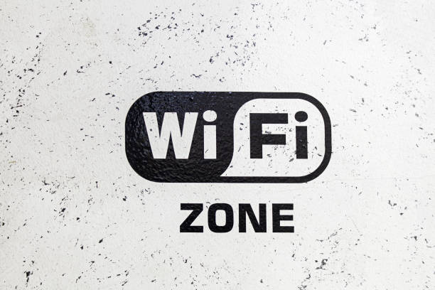 wifi area - wave icon stock photos and pictures