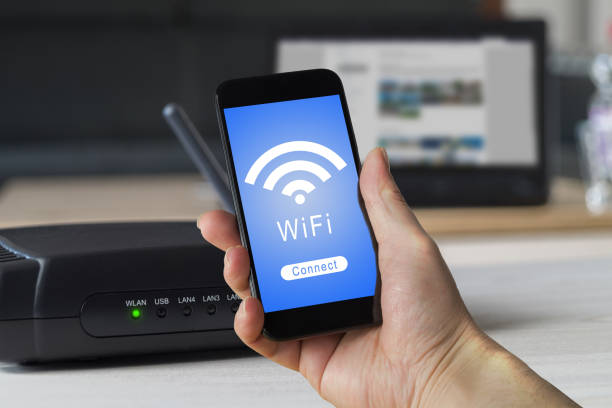 wifi cell phone home wlan - router foto e immagini stock