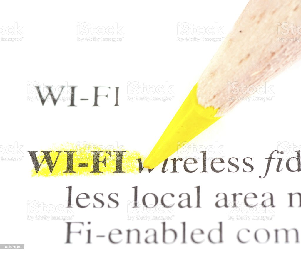 wi-fi definition marked in dictionary stock photo