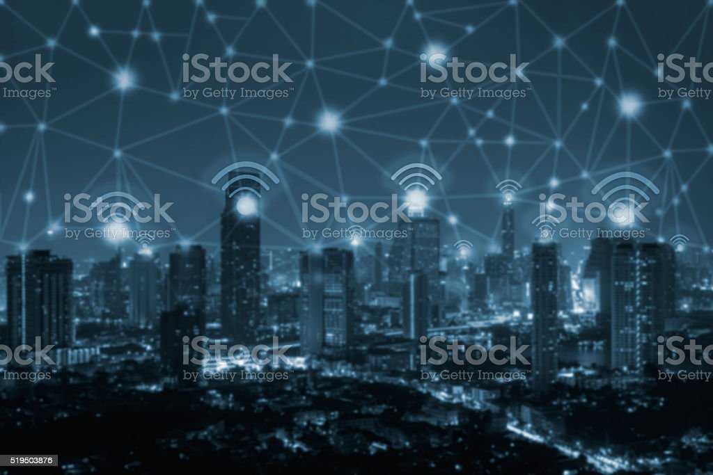 wifi icon and network connection concep stock photo