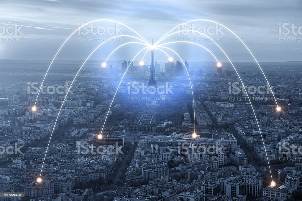 Wifi icon and Paris city with network connection stock photo