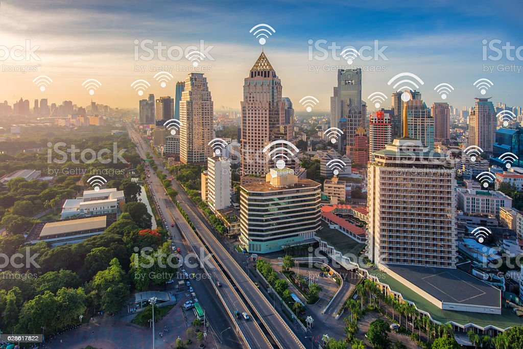 wifi icon city scape and network connection concept stock photo