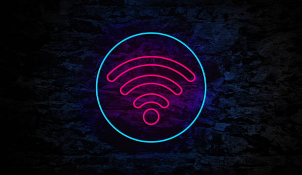 Wifi icon Neon Sign on Brick Wall stock photo